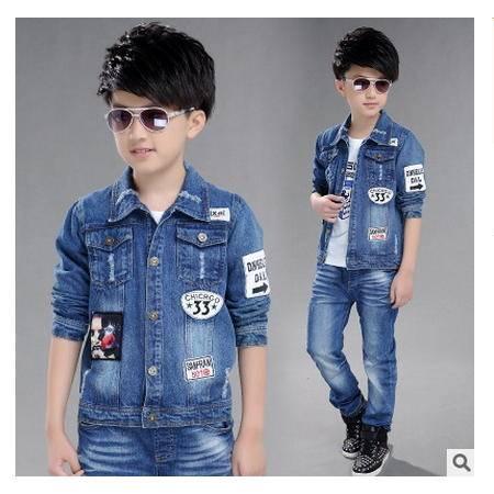 中大童33标男童牛仔衣新款男童秋装牛仔夹克外套怡衣童装