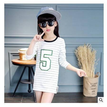 秋装新款小女孩数字5休闲长袖上衣 童装女童条纹T恤怡衣童装
