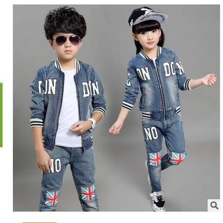 中大童时尚牛仔两件套秋季新款韩版时尚米字牛仔套装怡衣童装