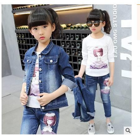 中大童美女印花牛仔套装+长袖T恤秋季新品女童纯棉牛仔三件套怡衣童装包邮