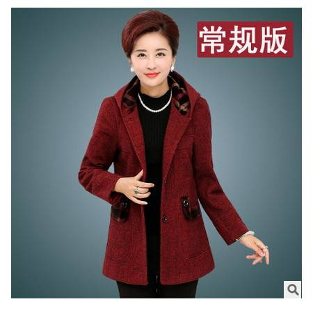 妈妈装中长款连帽风衣羊毛呢秋冬中老年女装冬装外套加绒呢子大衣妃凡