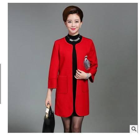 中长款中老年女装秋装上衣中年女风衣新品韩版妈妈装毛呢外套妃凡包邮