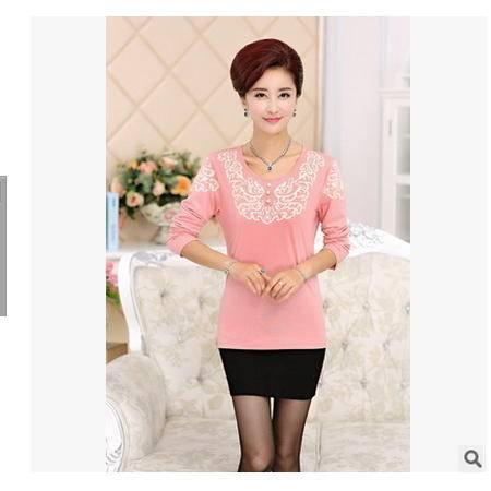 大码妈妈装中年女士针织打底衫上衣中老年女装春秋季新款长袖T恤妃凡