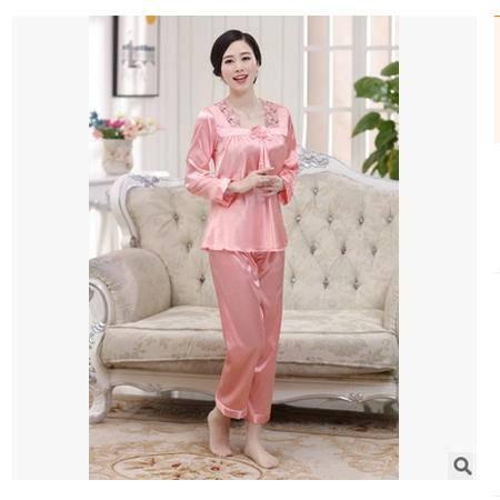 妈妈装中年女士仿真丝睡衣套装新品春秋季大码睡衣两件套妃凡