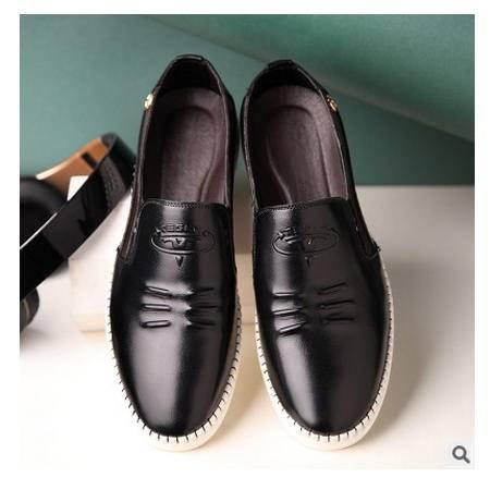 手工定制皮鞋男是的男鞋品牌皮鞋男 新款休闲套脚皮鞋单鞋卡劲包邮