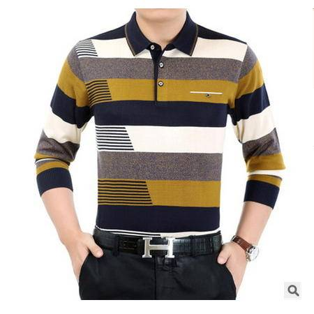 男翻领宽松中年男装秋季针织衫条纹长袖男式t恤休闲新款羊毛t恤墨郎