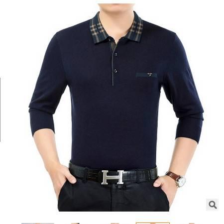 爸爸装中年男士翻领宽松体恤衫休闲纯色男式毛衣秋季薄款针织衫墨郎