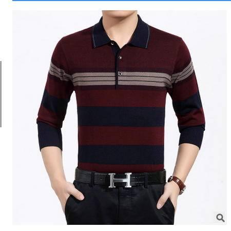 条纹男式毛衣休闲男装宽松上衣秋季长袖针织打底衫中年翻领爸爸装墨郎
