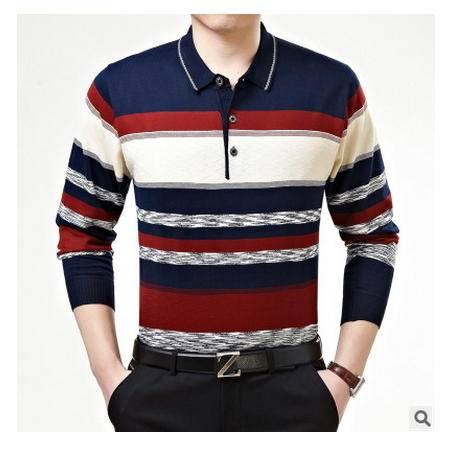 宽松爸爸装羊毛衫男条纹男式毛衣秋季中年男长袖针织衫翻领打底衫墨郎