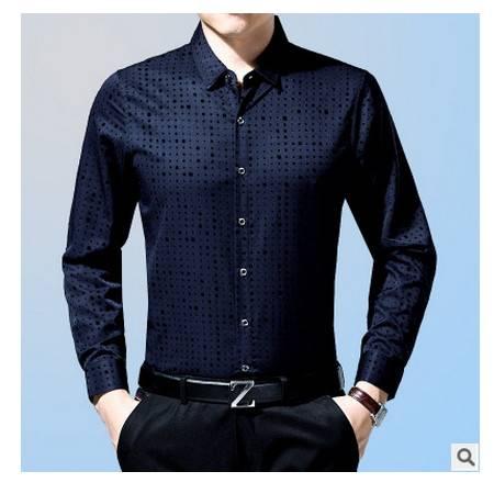 翻领免烫纯色男衬衣潮 秋季新款男士长袖衬衫纯棉薄款中年商务正装墨郎