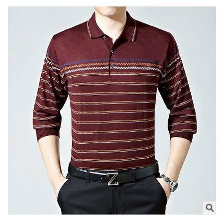 秋中老年薄款针织衫体恤男装爸爸装男士中年长袖t恤衫新款墨郎