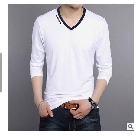 纯色韩版修身长袖T恤青年打底衫上衣秋季新款男士潮流V领纯棉墨郎