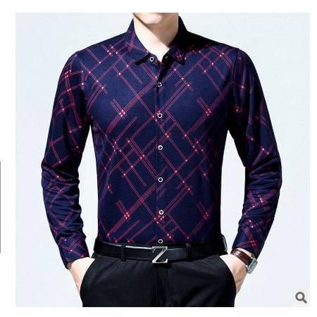 商务纯棉格子衬衣中年长袖衬衫男中年男装秋季男士长袖衬衫爸爸装墨郎