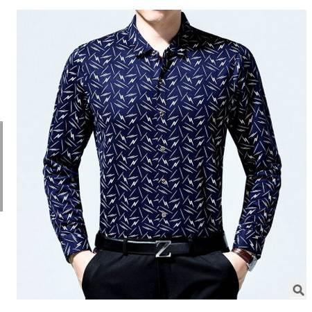 宽松商务爸爸装中年男装长袖衬衣秋季薄款透气中年男士长袖衬衫棉墨郎