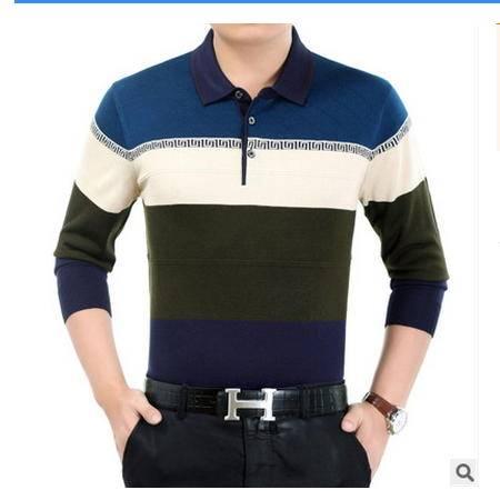 爸爸装长袖体恤衫秋季中年男士长袖t恤中老年男装翻领新款针织衫墨郎