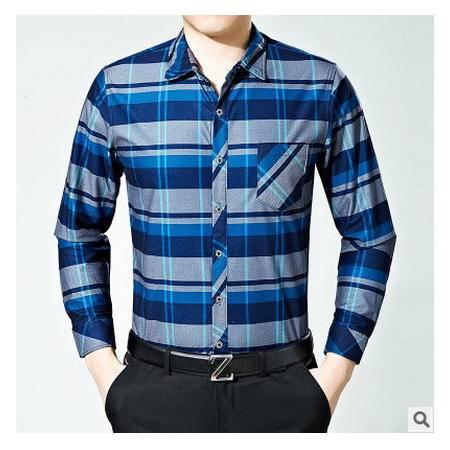 薄款格子衬衣纯棉中年长袖衬衫男秋季男士长袖衬衫翻领休闲爸爸装墨郎