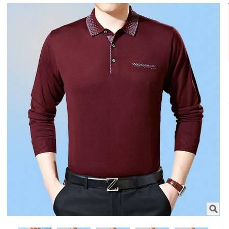 中老年男式纯色有带领体恤衫爸爸装新款中年男士长袖T恤墨郎