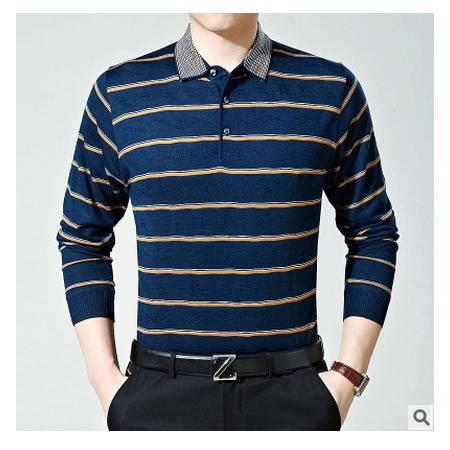 男针织衫毛衣打底衫翻领休闲潮装中年男士长袖t恤秋冬羊毛衫墨郎