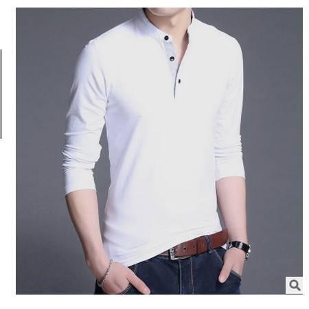 秋季薄款男装休闲男式t恤纯棉男士长袖t恤青年立领纯色修身t恤男墨郎