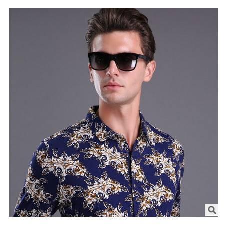 印花衬衫时尚品牌翻领中年男士长袖衬衫休闲男装秋季新款尊霸