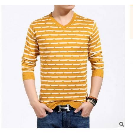 时尚男装修身青年男式毛衣秋季新款套头条纹毛衣男韩版拼色针织衫墨郎