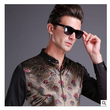 中年潮流爸爸装金色时尚商务男士衬衫时尚宴会款气质男装尊霸