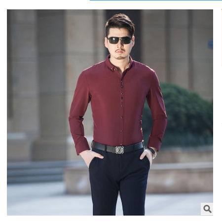 纯色韩版修身免烫品牌男式衬衫秋长袖新款尊霸