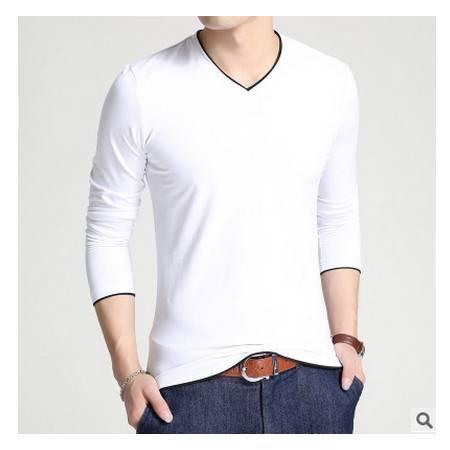 纯棉V领男装纯色时尚男t恤休闲青年长袖t恤男秋季韩版修身男式t恤墨郎