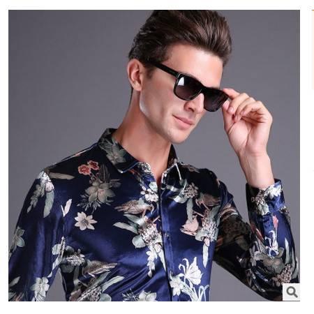 休闲品牌男装爸爸装金丝绒翻领秋季新款男士长袖衬衫尊霸