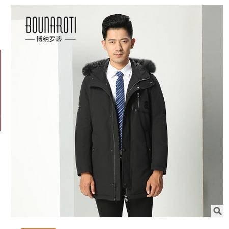 男式连帽毛领保暖羽绒外套冬季新款青年男士时尚长款羽绒服博纳罗蒂包邮
