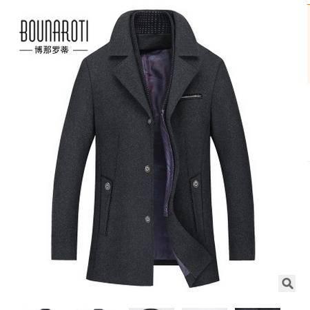 毛呢外套男装秋季新款休闲毛呢男式商务大衣男博纳罗蒂包邮
