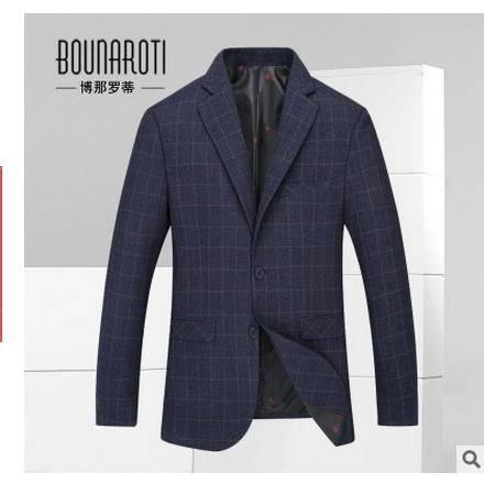 韩版小西装外套便西男装修身秋季新款休闲西装男式格纹小西服博纳罗蒂包邮