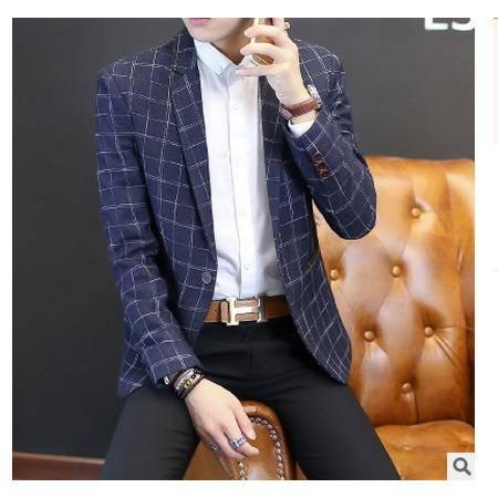 都市时尚青年格子西服单西男外套秋季新款男式休闲西装 博纳罗蒂 包邮