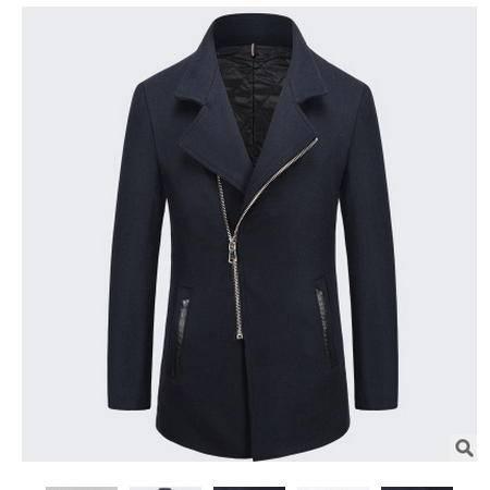 男士中长款羊毛呢大衣外套潮流上衣秋冬季休闲男式风衣博纳罗蒂 包邮