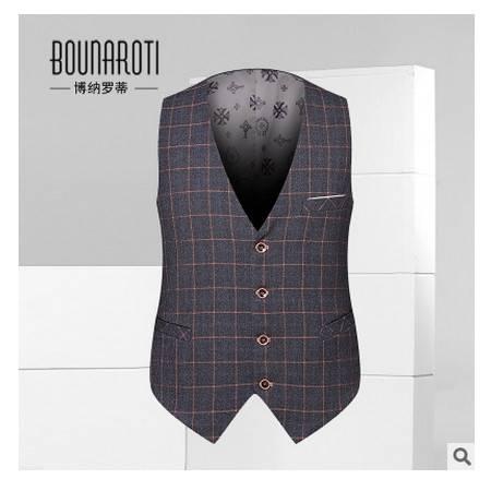 英伦格子韩版修身商务休闲马甲秋季青年男士新款西装马甲博纳罗蒂