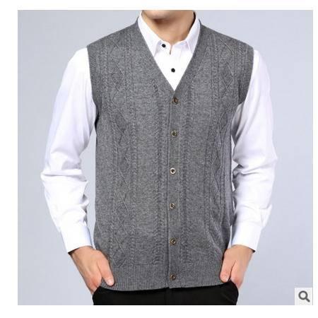 中老年纯色提花宽松针织羊毛开衫马甲秋冬新款中年毛线背心男莫菲
