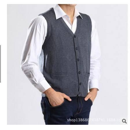 带口袋羊毛开衫背心无袖休闲马甲男装秋男毛线背心中老年爸爸装莫菲
