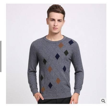 青年休闲圆领提花针织保暖貂绒衫 男式羊绒衫秋冬新款男毛衣莫菲包邮