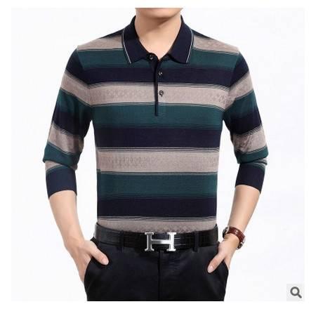中老年爸爸装翻领条纹针织羊毛衫男装秋季新款男士长袖T恤 莫菲