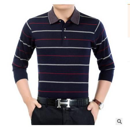 中老年爸爸装翻领宽松条纹羊毛打底衫新款秋季中年长袖T恤男莫菲