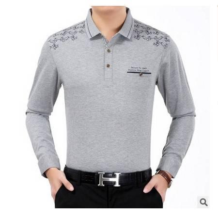 中年翻领纯色宽松棉体恤衫真口袋爸爸装秋季新款长袖T恤男莫菲