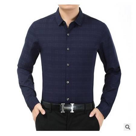中老年爸爸翻领印花加绒保暖长袖衬衣秋冬新款加厚中年男士衬衫莫菲