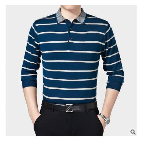 中老年翻领条纹宽松羊毛体恤衫爸爸装秋季新款中年男士长袖T恤 莫菲
