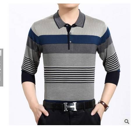 中老年翻领条纹宽松体恤衫春秋爸爸装新款中年男式长袖T恤 莫菲