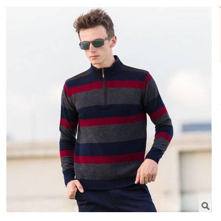 中年拉链半高领条纹加厚全羊毛衫男士羊绒衫秋冬新款男式毛衣 莫菲包邮