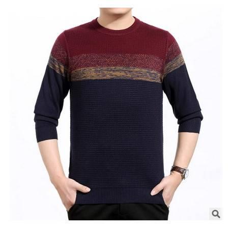 中老年爸爸圆领宽松羊毛针织打底衫秋装新款中年男士长袖T恤莫菲