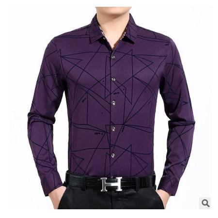 翻领印花棉质宽松长袖衬衣商务爸爸装上衣秋新款中年男式衬衫莫菲