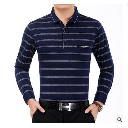 中年翻领宽松条纹真口袋棉体恤衫爸爸装秋季新款长袖T恤男 莫菲