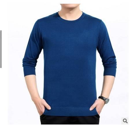 薄款纯色圆领针织羊毛长袖T恤衫秋新款男长袖T恤中年爸爸装莫菲