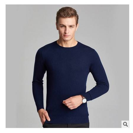 中青年纯色圆领100%纯羊毛针织打底衫男新款青年男士羊毛衫 莫菲包邮